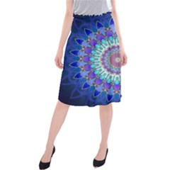 Power Flower Mandala   Blue Cyan Violet Midi Beach Skirt