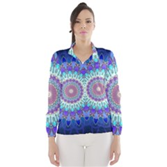 Power Flower Mandala   Blue Cyan Violet Wind Breaker (Women)
