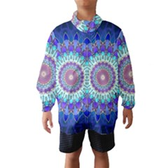 Power Flower Mandala   Blue Cyan Violet Wind Breaker (Kids)