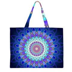 Power Flower Mandala   Blue Cyan Violet Large Tote Bag