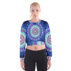 Power Flower Mandala   Blue Cyan Violet Women s Cropped Sweatshirt