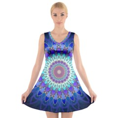 Power Flower Mandala   Blue Cyan Violet V-Neck Sleeveless Skater Dress
