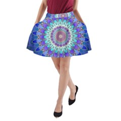 Power Flower Mandala   Blue Cyan Violet A-Line Pocket Skirt