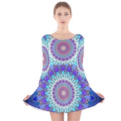 Power Flower Mandala   Blue Cyan Violet Long Sleeve Velvet Skater Dress