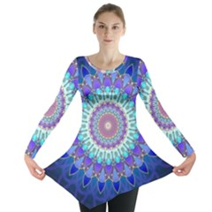 Power Flower Mandala   Blue Cyan Violet Long Sleeve Tunic