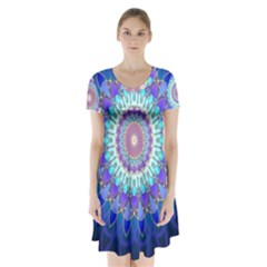 Power Flower Mandala   Blue Cyan Violet Short Sleeve V-neck Flare Dress