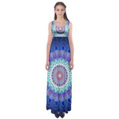 Power Flower Mandala   Blue Cyan Violet Empire Waist Maxi Dress