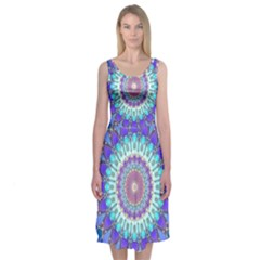 Power Flower Mandala   Blue Cyan Violet Midi Sleeveless Dress