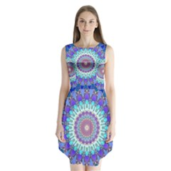 Power Flower Mandala   Blue Cyan Violet Sleeveless Chiffon Dress