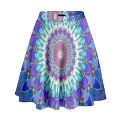 Power Flower Mandala   Blue Cyan Violet High Waist Skirt
