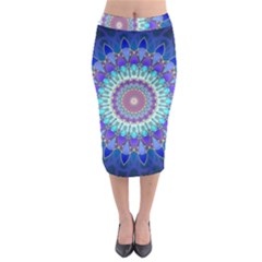Power Flower Mandala   Blue Cyan Violet Midi Pencil Skirt