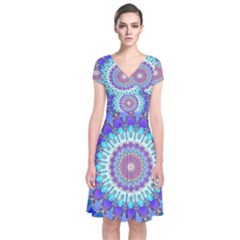 Power Flower Mandala   Blue Cyan Violet Short Sleeve Front Wrap Dress