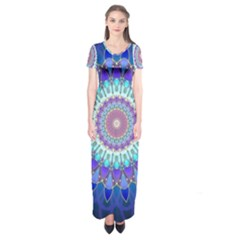 Power Flower Mandala   Blue Cyan Violet Short Sleeve Maxi Dress