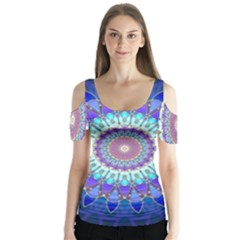Power Flower Mandala   Blue Cyan Violet Butterfly Sleeve Cutout Tee