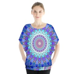 Power Flower Mandala   Blue Cyan Violet Blouse