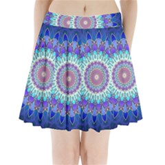 Power Flower Mandala   Blue Cyan Violet Pleated Mini Skirt