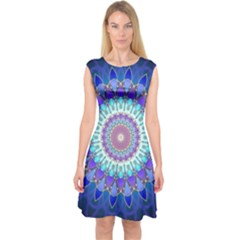 Power Flower Mandala   Blue Cyan Violet Capsleeve Midi Dress