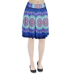 Power Flower Mandala   Blue Cyan Violet Pleated Skirt
