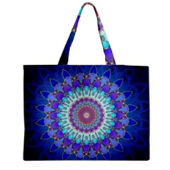 Power Flower Mandala   Blue Cyan Violet Medium Tote Bag