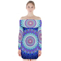 Power Flower Mandala   Blue Cyan Violet Long Sleeve Off Shoulder Dress