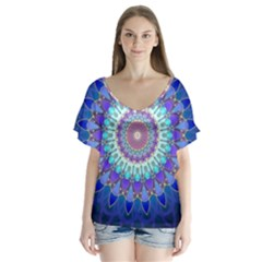 Power Flower Mandala   Blue Cyan Violet Flutter Sleeve Top