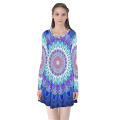 Power Flower Mandala   Blue Cyan Violet Flare Dress