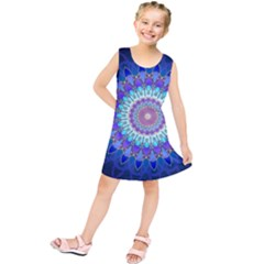 Power Flower Mandala   Blue Cyan Violet Kids  Tunic Dress