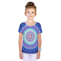Power Flower Mandala   Blue Cyan Violet Kids  One Piece Tee