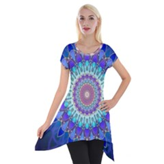 Power Flower Mandala   Blue Cyan Violet Short Sleeve Side Drop Tunic