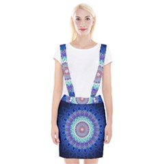 Power Flower Mandala   Blue Cyan Violet Suspender Skirt