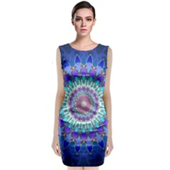 Power Flower Mandala   Blue Cyan Violet Sleeveless Velvet Midi Dress