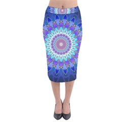 Power Flower Mandala   Blue Cyan Violet Velvet Midi Pencil Skirt