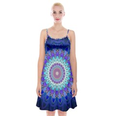 Power Flower Mandala   Blue Cyan Violet Spaghetti Strap Velvet Dress