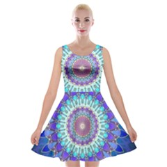 Power Flower Mandala   Blue Cyan Violet Velvet Skater Dress