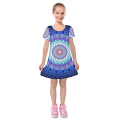 Power Flower Mandala   Blue Cyan Violet Kids  Short Sleeve Velvet Dress