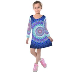 Power Flower Mandala   Blue Cyan Violet Kids  Long Sleeve Velvet Dress
