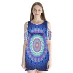 Power Flower Mandala   Blue Cyan Violet Shoulder Cutout Velvet  One Piece