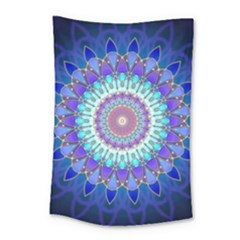 Power Flower Mandala   Blue Cyan Violet Small Tapestry
