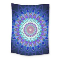 Power Flower Mandala   Blue Cyan Violet Medium Tapestry