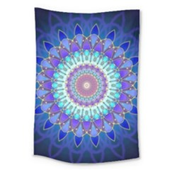 Power Flower Mandala   Blue Cyan Violet Large Tapestry