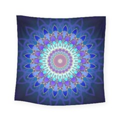 Power Flower Mandala   Blue Cyan Violet Square Tapestry (Small)