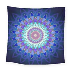 Power Flower Mandala   Blue Cyan Violet Square Tapestry (Large)