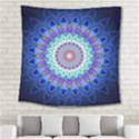 Power Flower Mandala   Blue Cyan Violet Square Tapestry (Large) View2
