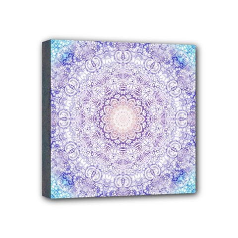 India Mehndi Style Mandala   Cyan Lilac Mini Canvas 4  x 4