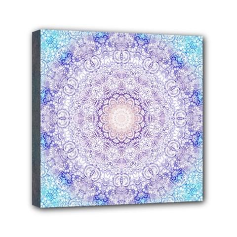 India Mehndi Style Mandala   Cyan Lilac Mini Canvas 6  x 6