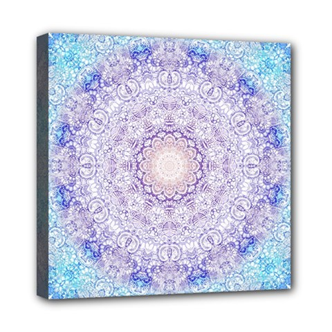 India Mehndi Style Mandala   Cyan Lilac Mini Canvas 8  x 8