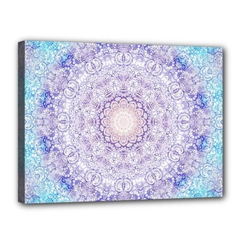 India Mehndi Style Mandala   Cyan Lilac Canvas 16  x 12