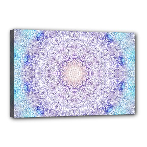 India Mehndi Style Mandala   Cyan Lilac Canvas 18  x 12