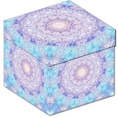 India Mehndi Style Mandala   Cyan Lilac Storage Stool 12