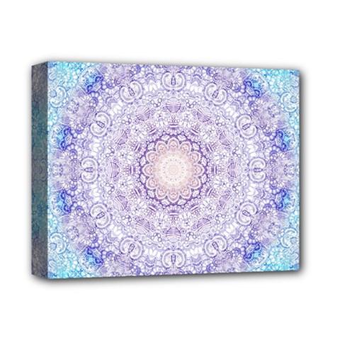 India Mehndi Style Mandala   Cyan Lilac Deluxe Canvas 14  x 11